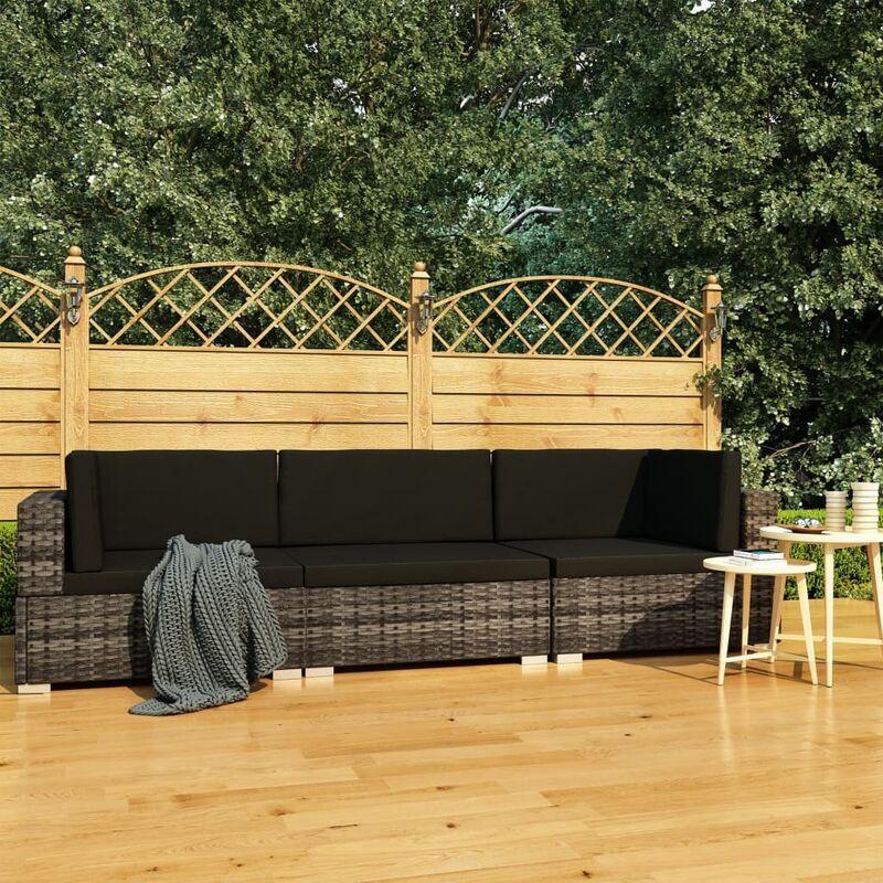 ASUPERMALL Salon de jardin 3 pcs avec coussins Resine tressee Gris