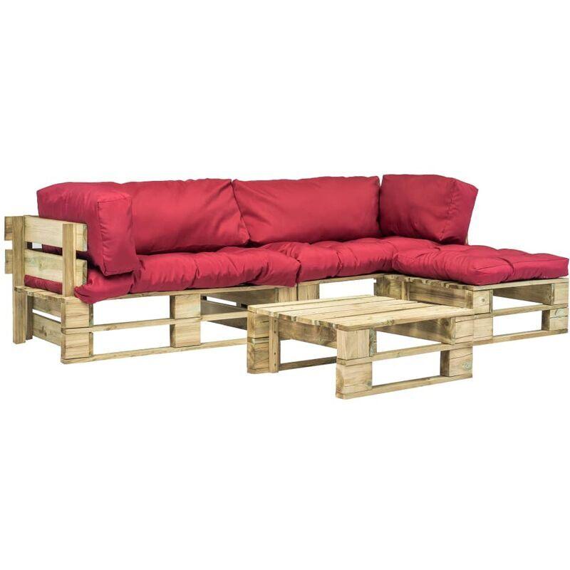 YOUTHUP Salon de jardin 4 pcs palettes avec coussins rouges Bois