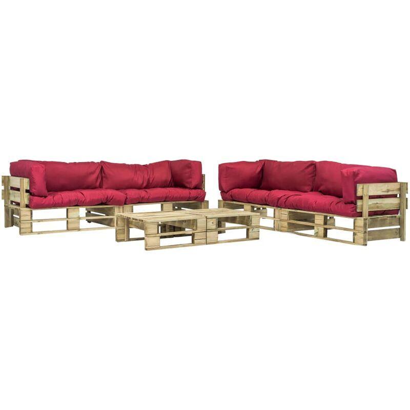 ZQYRLAR Salon de jardin 6 pcs palettes avec coussins rouges Bois