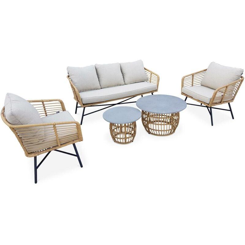 ALICE'S GARDEN Salon de jardin bas 5 places UBUD – Ensemble canapé 3 places et 2 fauteuils