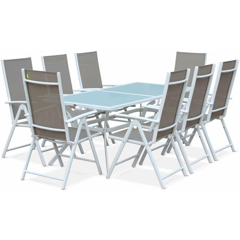 ALICE'S GARDEN Salon de jardin en aluminium et textilène - Naevia - Blanc, Taupe - 8 places