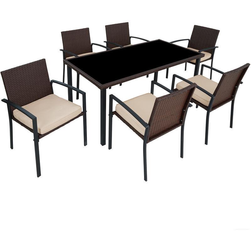 Tectake - Salon de Jardin 6 Chaises et 1 Table en Résine Tressée Structure