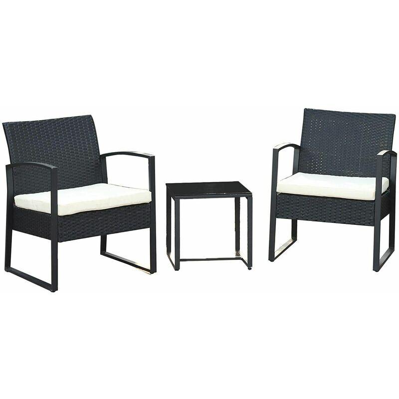 SONGMICS Salon de jardin extérieur, Ensemble de 3 meubles de jardin surface tressée,
