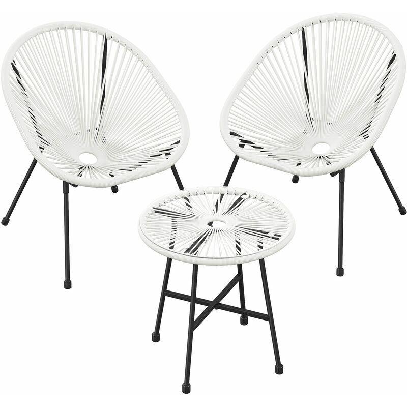 SONGMICS Salon de jardin extérieur, Ensemble de 3 meubles acapulco, 2 chaises, 1 table