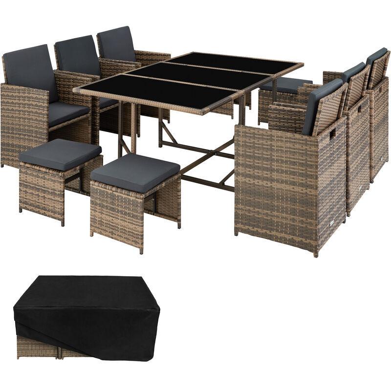 Tectake - Salon de jardin MALAGA 10 places avec housse de protection - mobilier