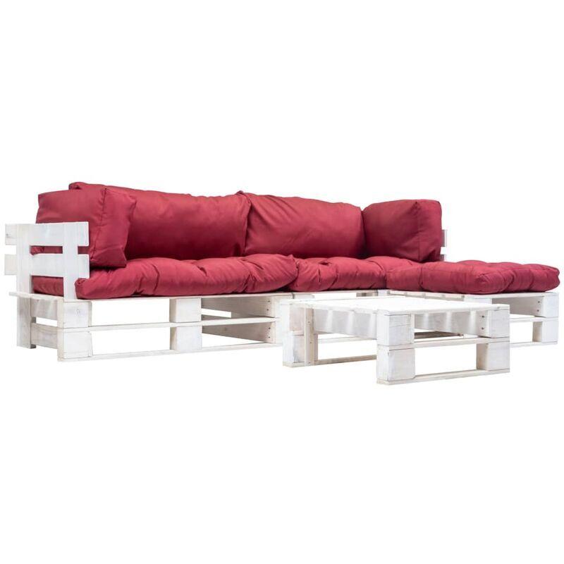 ZQYRLAR Salon de jardin palette 4 pcs avec coussins rouge Bois