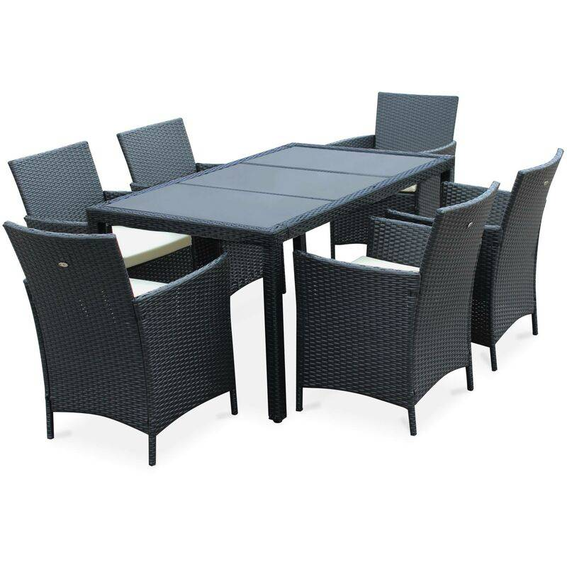 ALICE'S GARDEN Salon de jardin 6 places - Tavola 6 Noir - Résine tressée, table 150cm,