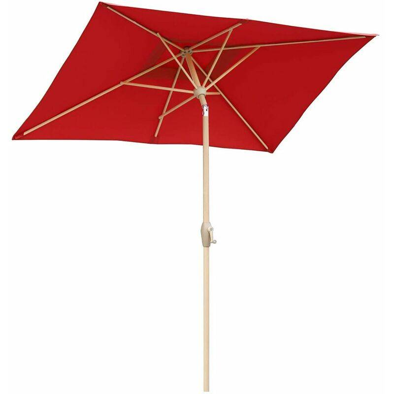 Sekey 210 � 140 cm Parasol jardin d�port� Alu rectangulaire en wood grain,