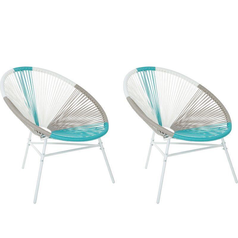 BELIANI Lot 2 fauteuils spaghetti blancs et bleus pour intérieur et extérieur ACAPULCO