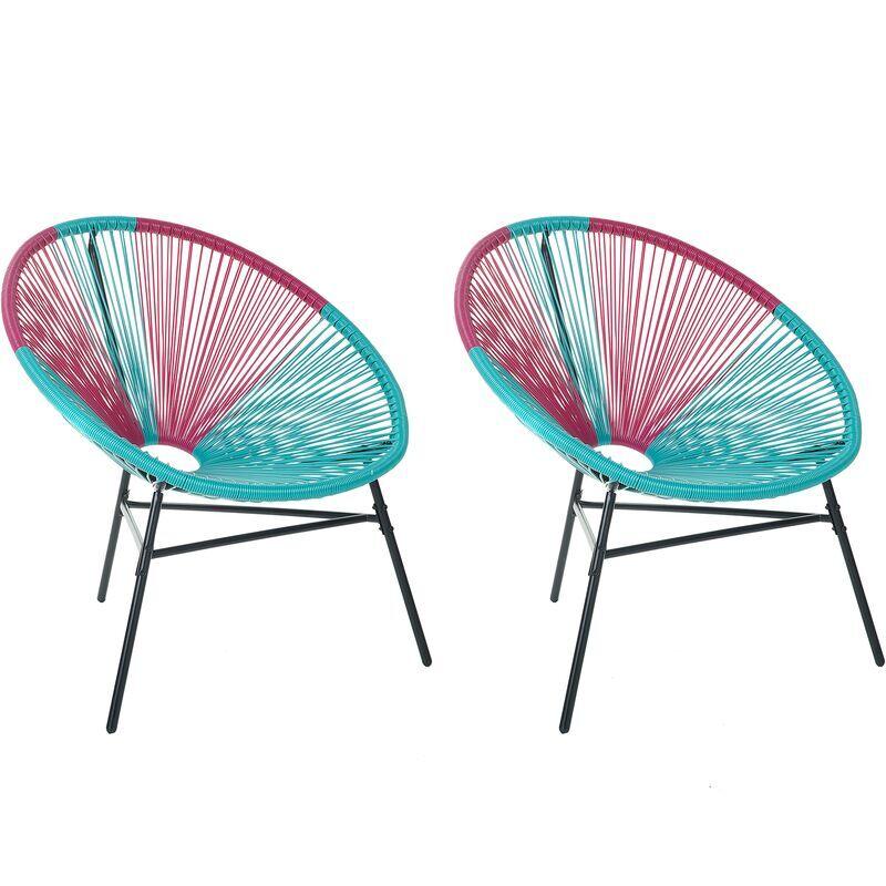 BELIANI Lot de 2 fauteuils spaghetti bleus et roses pour intérieur et extérieur ACAPULCO