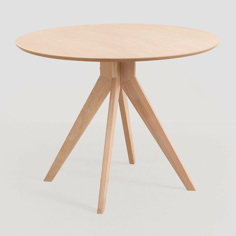 SKLUM Table à manger ronde en bois (Ø100 cm) Sekiz Bois d'hévéa Marron Cendré