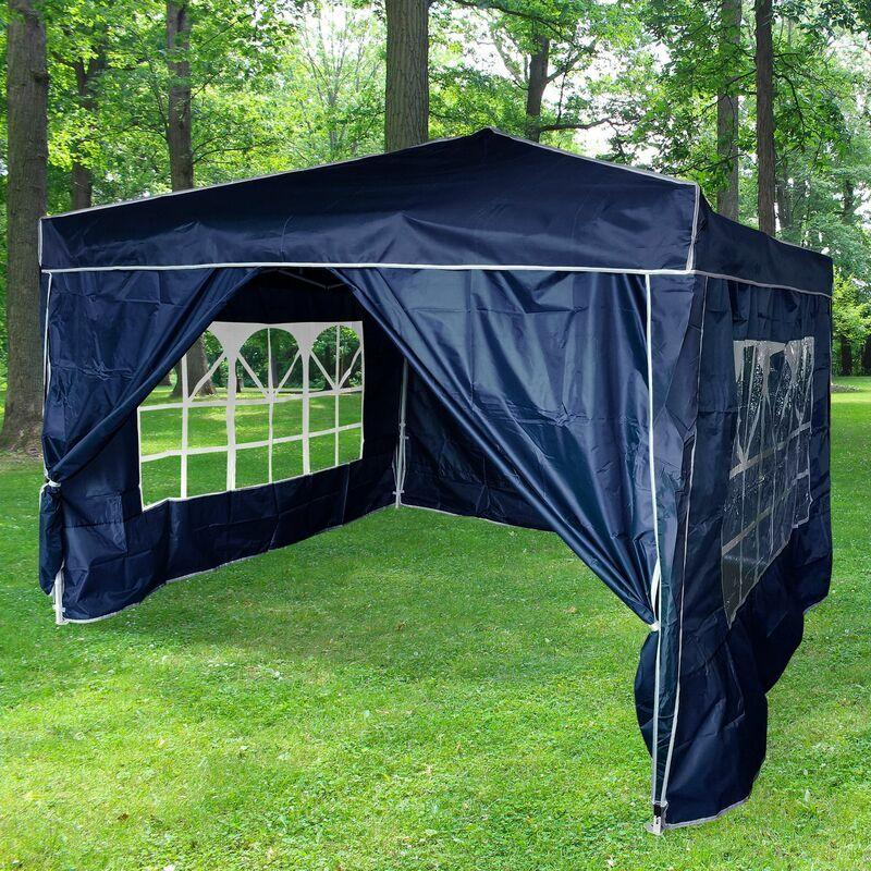 SKYLANTERN Tonnelle de Jardin Pliante 3x3 m + 4 parois Bleu Structure Télescopique Toile
