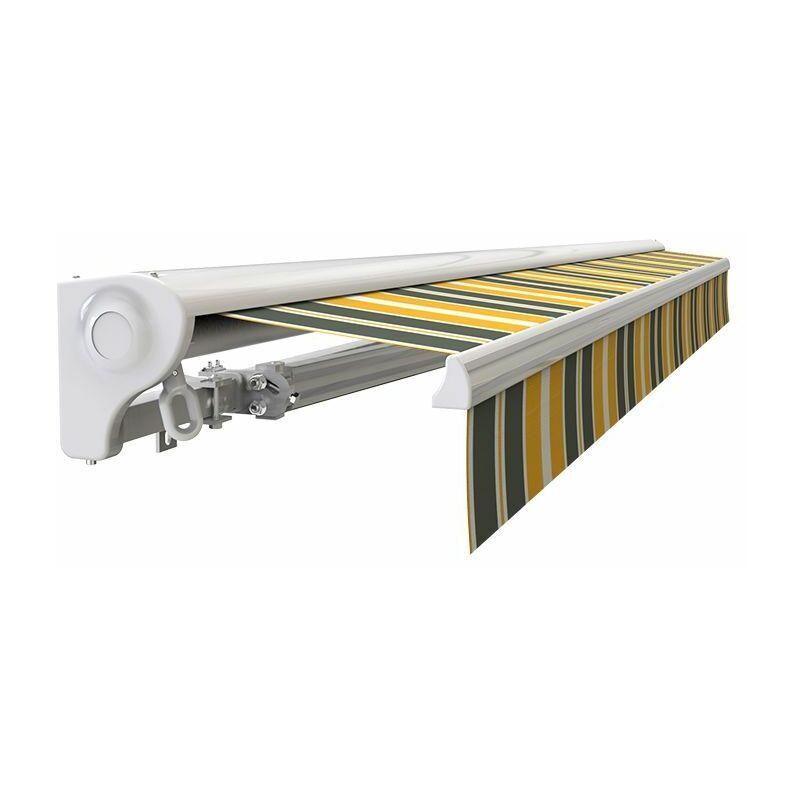 SUNNY INCH ® Store banne Demi coffre motorisé et manuel pour terrasse - Gris jaune - 3,6 x 3