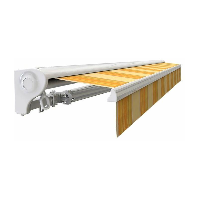SUNNY INCH ® Store banne Demi coffre motorisé et manuel pour terrasse - Jaune rayé - 3,6 x 3