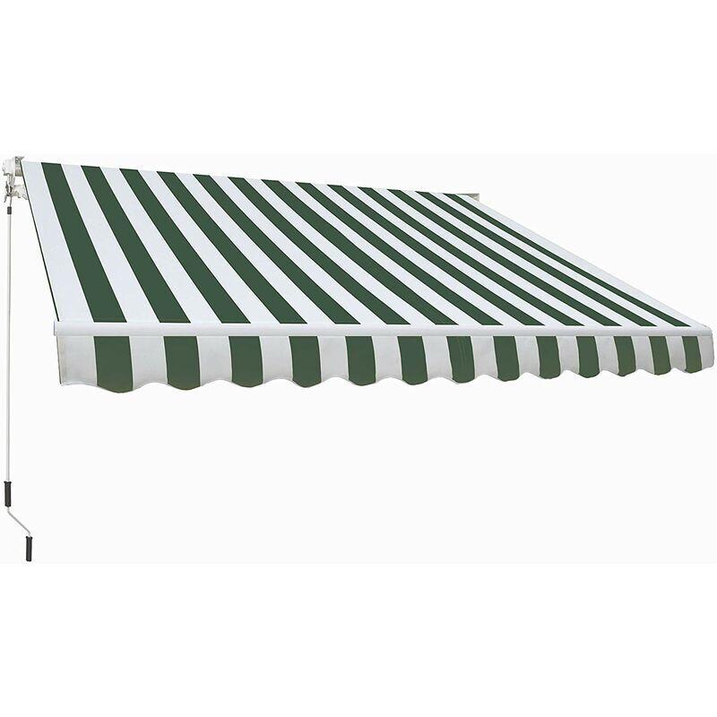 SMARTSUN Store banne manuel 4x2,5m Smartsun toile polyester verte/blanc