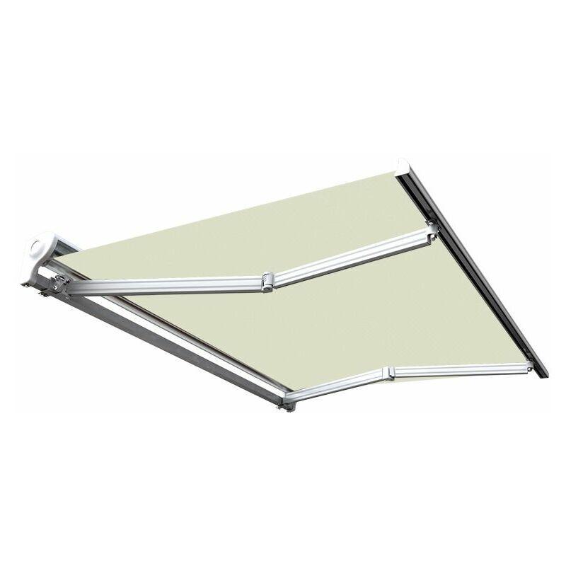 Sunny Inch ® - Store banne manuel Demi coffre pour terrasse - Écru - 3,6 x 3 m