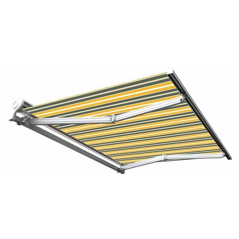Sunny Inch ® - Store banne manuel Demi coffre pour terrasse - Gris jaune - 3 x