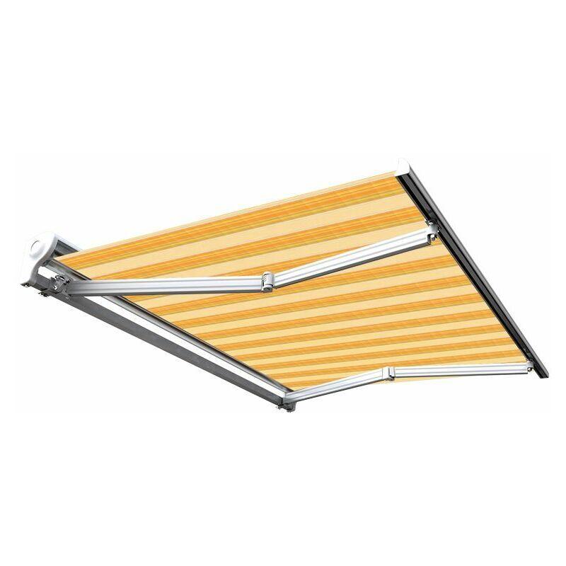 Sunny Inch ® - Store banne manuel Demi coffre pour terrasse - Jaune rayé - 3,6