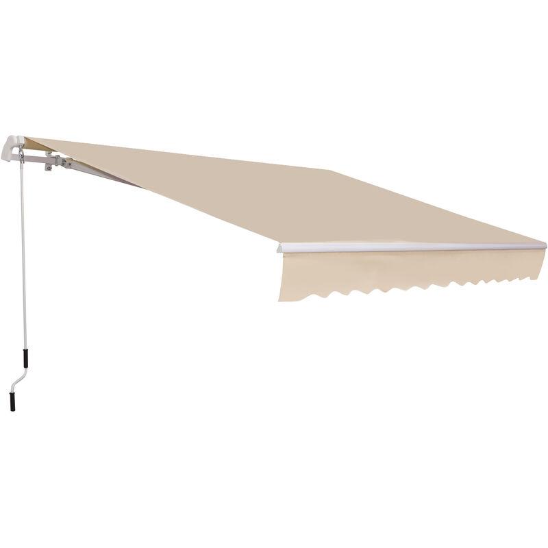 Outsunny Store banne manuel rétractable aluminium polyester imperméabilisé 3,5L x 2,5l m