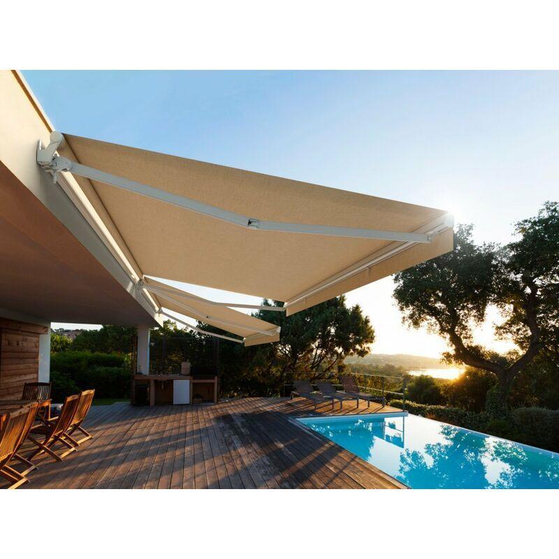 ICI STORE Store Banne Monobloc Manuel 4,65 X 3,5 m Blanc - DICKSON® NAPLES