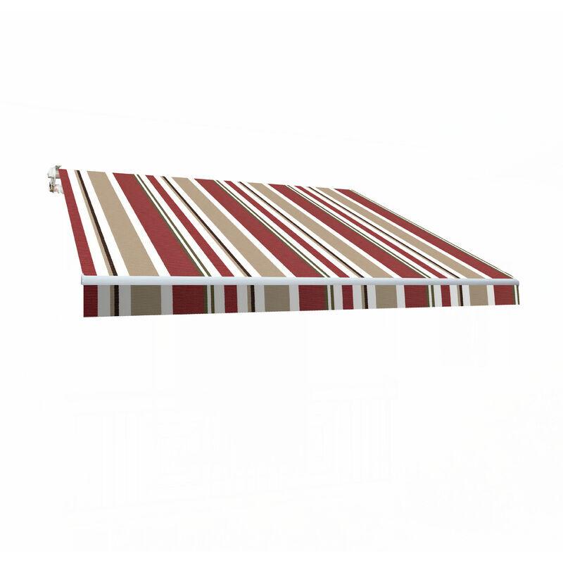 SMARTSUN Store banne manuel 4x2,5m Smartsun toile polyester bordeaux / beige