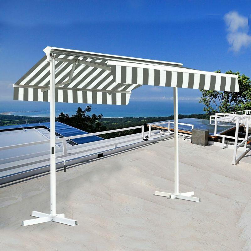 SUNNY INCH ® Stores double pente sur pied avec coffre - Blanc Gris - 3,5 x 3 m