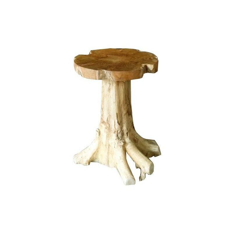 Meubletmoi - Table 55 cm en racine de teck - TEAK CHAMPI - Bois