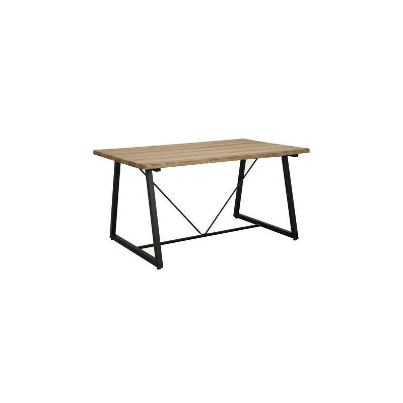 Meubletmoi - Table de jardin industriel avec décor bois et pied luge - BRUT