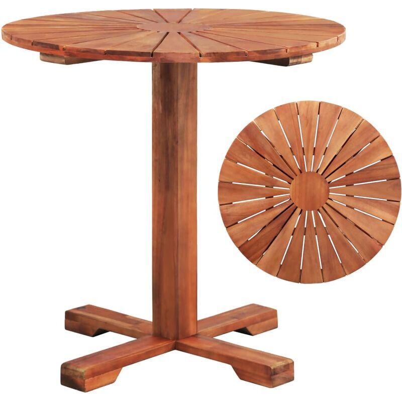 Asupermall - Table Sur Pied Bois D'Acacia Massif 70 X 70 Cm Rond