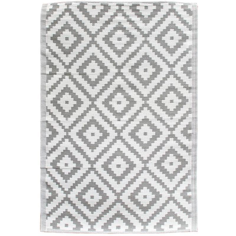 THE HOME DECO FACTORY Tapis de déco extérieur design Azura - L. 120 x l. 180 cm - Gris clair - Gris