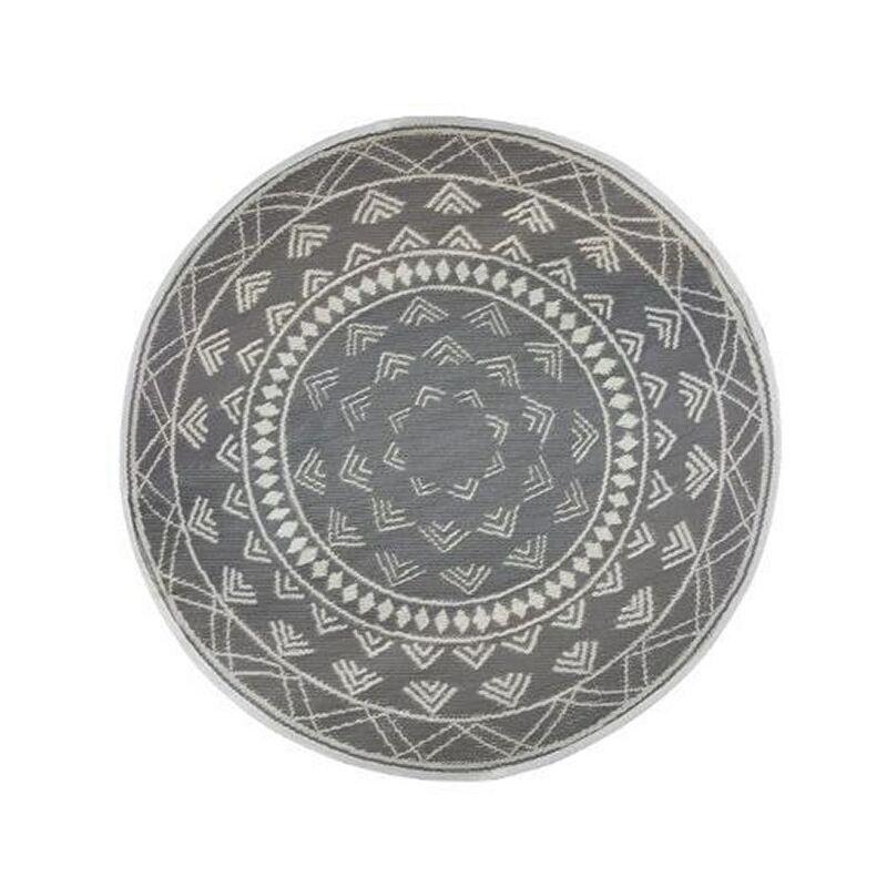 ATMOSPHERA, CRÉATEUR D'INTÉRIEUR Tapis rond extérieur 150 cm Mandala gris - Gris clair