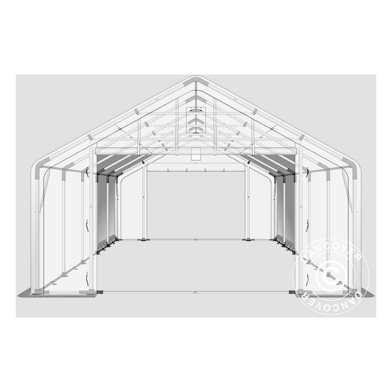DANCOVER Tente de Stockage Tente Abri PRO 5x10x2x3,39m, PE, Gris