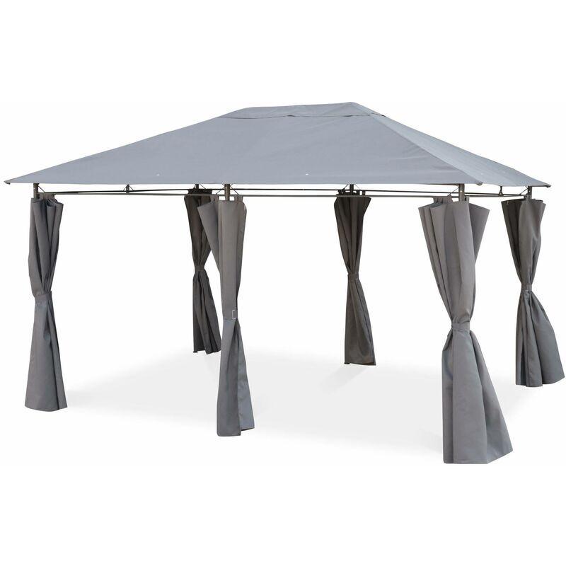 ALICE'S GARDEN Tonnelle 3 x 4 m - Divio - Toile grise - Pergola avec rideaux, tente de jardin,