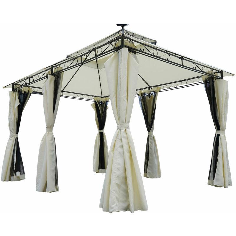 Brast - Tonnelle de Jardin 3x4 2,65H, beige, moustiquaire, LEDs, très stable,