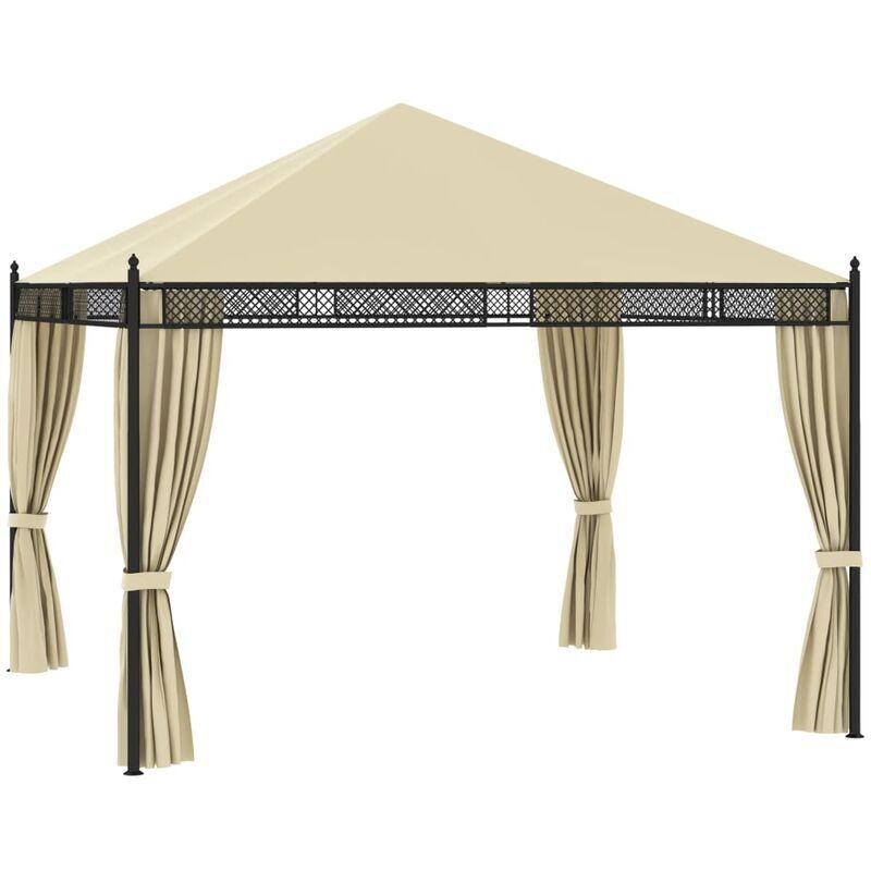 Zqyrlar - Tonnelle avec rideaux 3,5x3,5x3,1m Crème Résine tressée 140g/m²