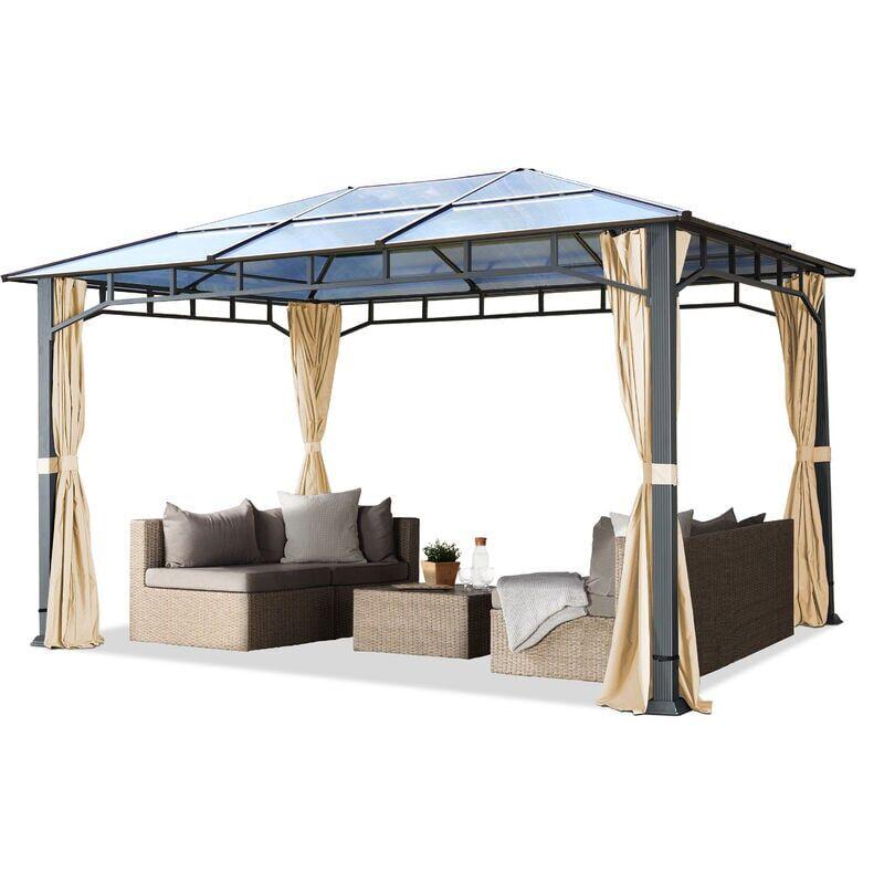 INTENT24.FR Tonnelle de jardin 3x4 m structure Aluminium toit polycarbonate épaisseur env.