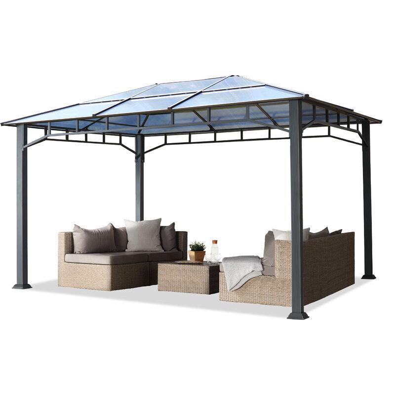INTENT24.FR Tonnelle de jardin 3x4 m structure en Aluminium toit polycarbonate épaisseur