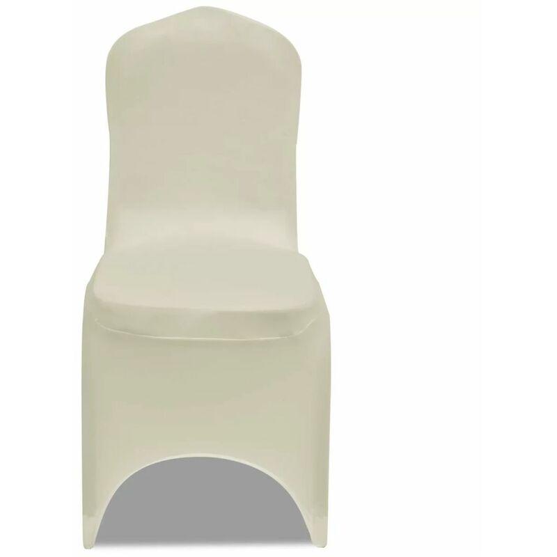 Topdeal VDLP00251_FR 50 housses de chaise extensibles crème