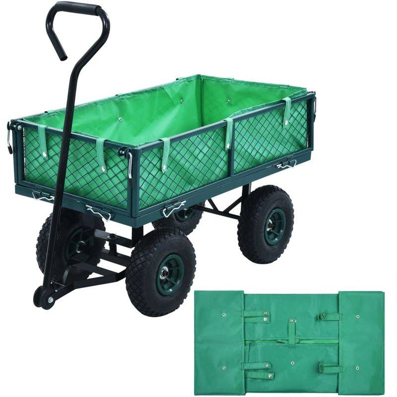Topdeal VDTD06522_FR Bâche de chariot de jardin Vert Tissu