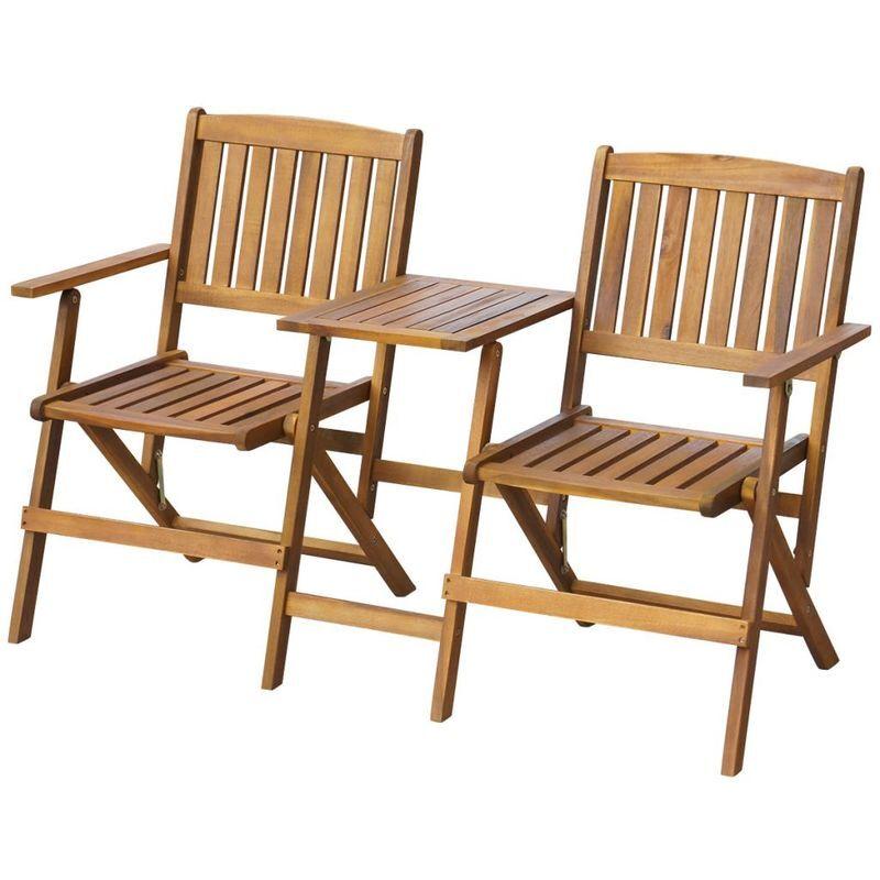TOPDEAL VDTD27164_FR Banc de jardin pliant et table à thé 140cm Bois d'acacia solide