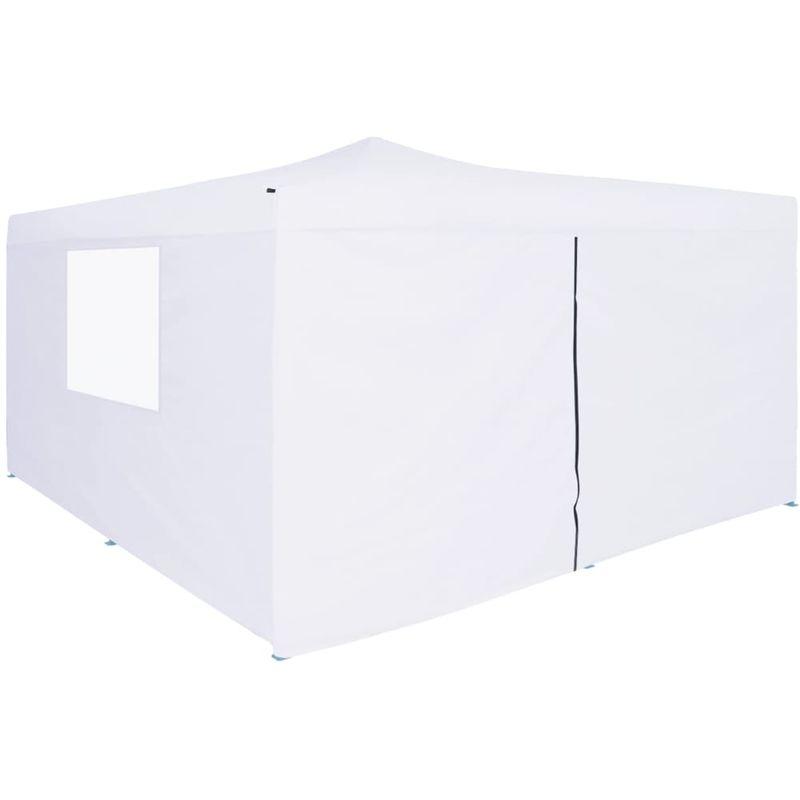 Topdeal VDTD46773_FR Belvédère pliable avec 4 parois 5x5 m Blanc