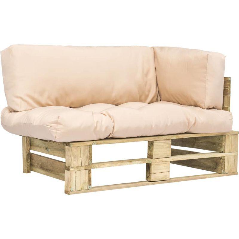 Topdeal Canapé de jardin palette avec coussins Sable Pinède FSC