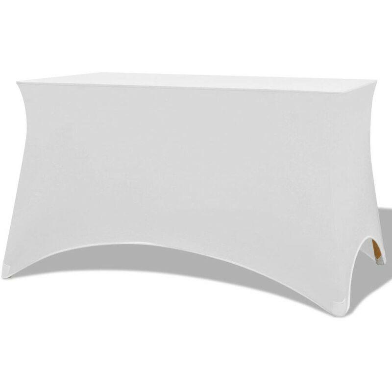 TOPDEAL VDTD01325_FR Housses extensibles pour table 2 pièces 120x60,5x74 cm Blanc