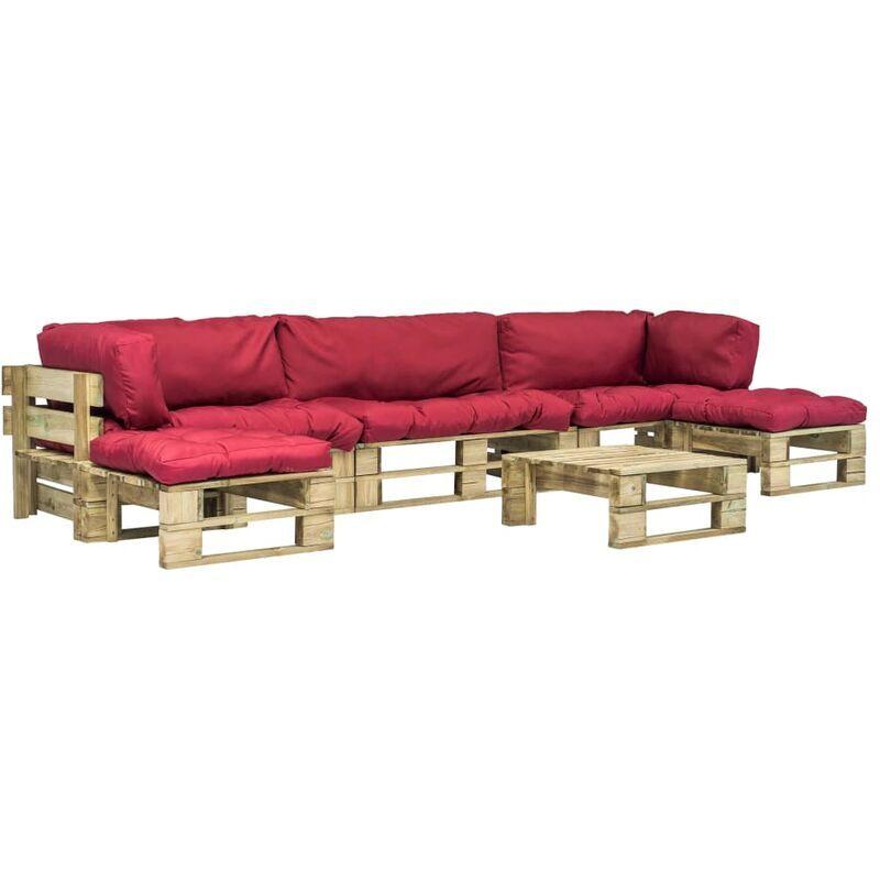 Topdeal Mobilier de jardin 6 pcs palettes avec coussins rouges Bois FSC