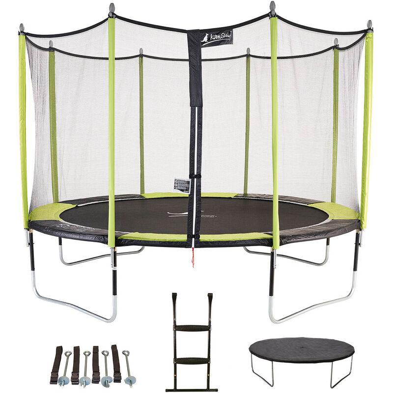 KANGUI Trampoline de jardin 365 cm + filet de sécurité + échelle + bâche de protection