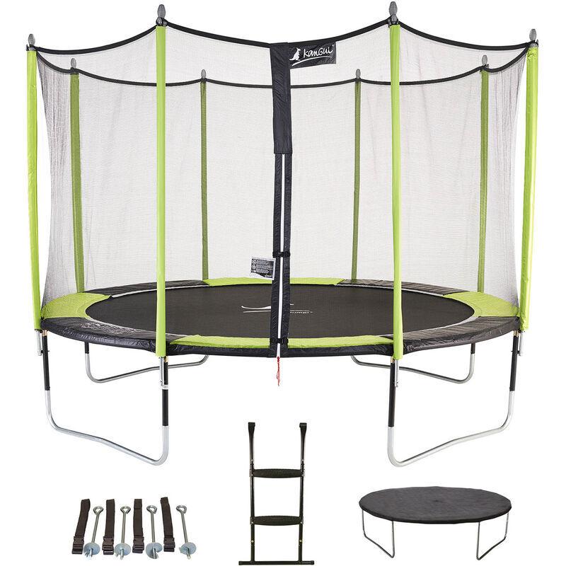 KANGUI Trampoline de jardin 426 cm + filet de sécurité + échelle + bâche de protection