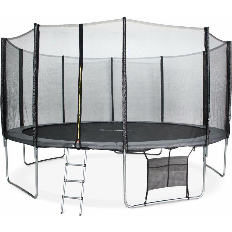 ALICE'S GARDEN Trampoline 460cm gris avec filet de protection, échelle, bâche, filet pour