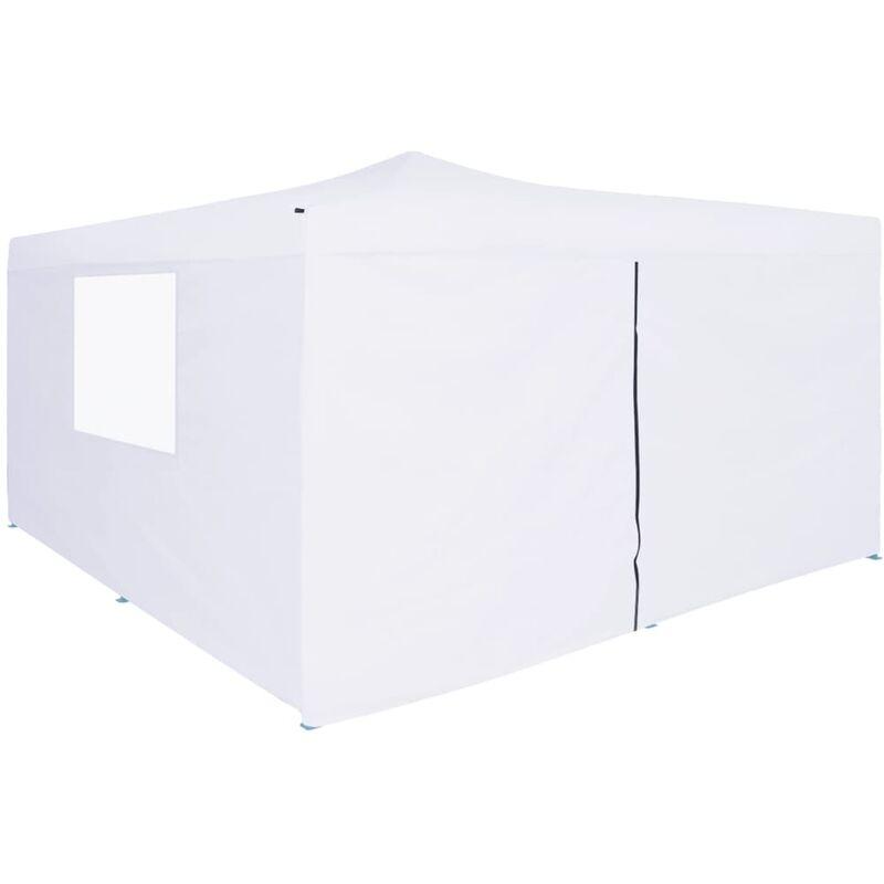True Deal Belvédère pliable avec 4 parois 5x5 m Blanc