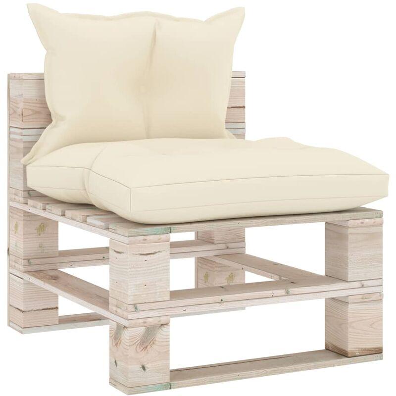 TRUE DEAL Canapé de milieu palette de jardin avec coussins Bois de pin - True Deal