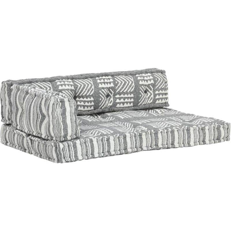 True Deal Coussin de canapé palette Gris Tissu Patchwork